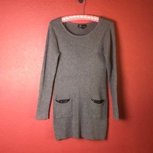 AGB Gray Sweater Tunic with Black Sequins